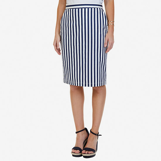 Striped Pencil Skirt - Deep Sea