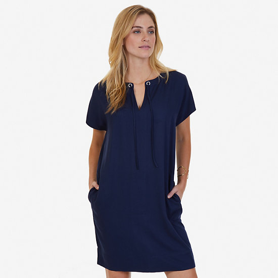 Drapey Grommet Dress,Deep Sea,large