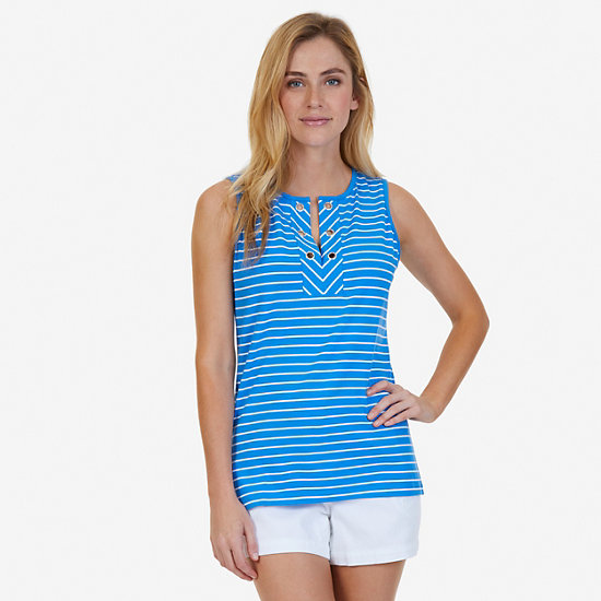Grommet Striped Sleeveless Top - Naval Blue
