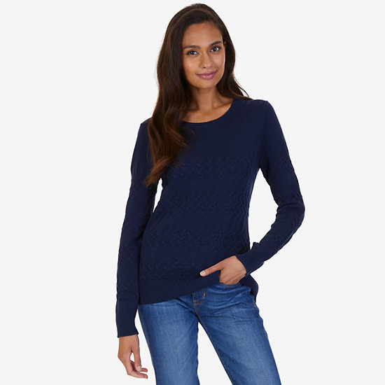 Cable Knit Sweater,Dreamy Blue,large