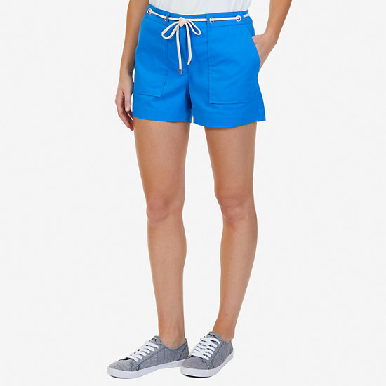 "Solid Shorts with Rope Belt- 4"" Inseam - Naval Blue"
