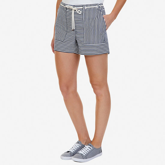 "Windsurf Striped Shorts with Rope Belt - 4"" Inseam - Deep Sea"