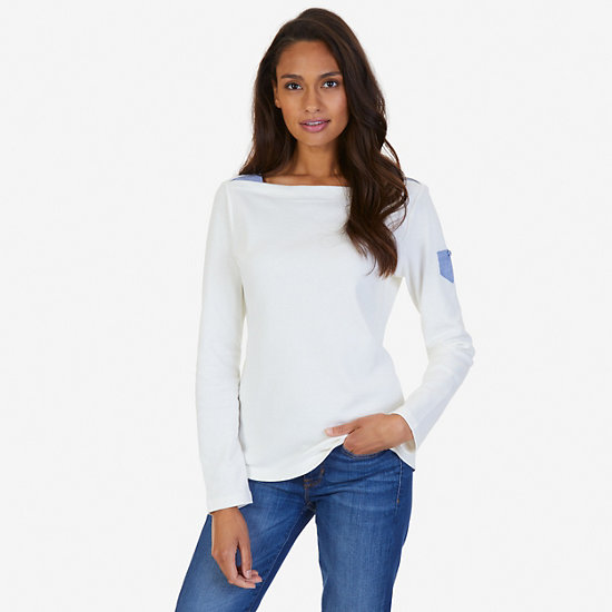Chambray Accent Top,Marshmallow,large