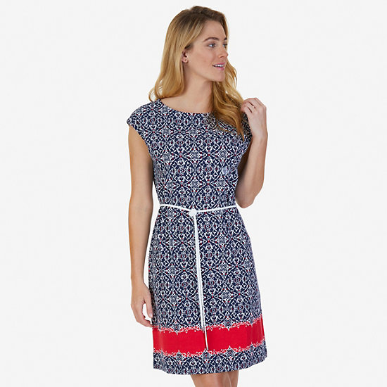 Stretch Cotton Jersey Medallion Print Belted Dress - Deep Sea