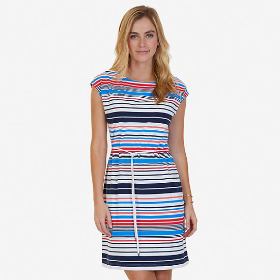 Stretch Cotton Jersey Multicolor Striped Belted Dress - Dreamy Blue