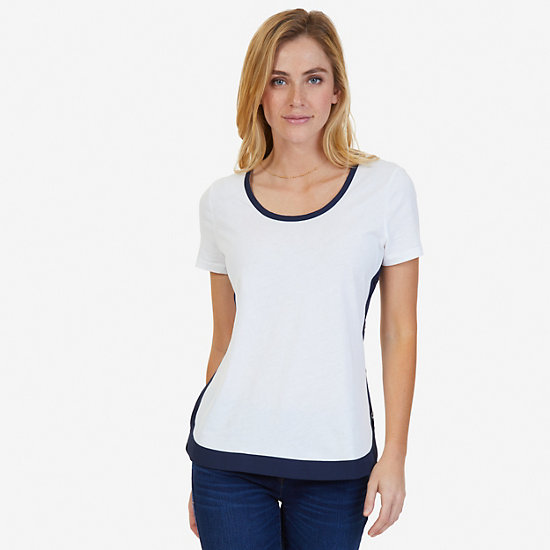 High-Low Hem Short Sleeve Knit Top - Marshmallow
