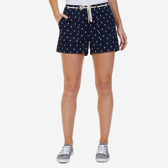 "Sailboat Printed Shorts with Rope Belt - 4"" Inseam - Deep Sea"