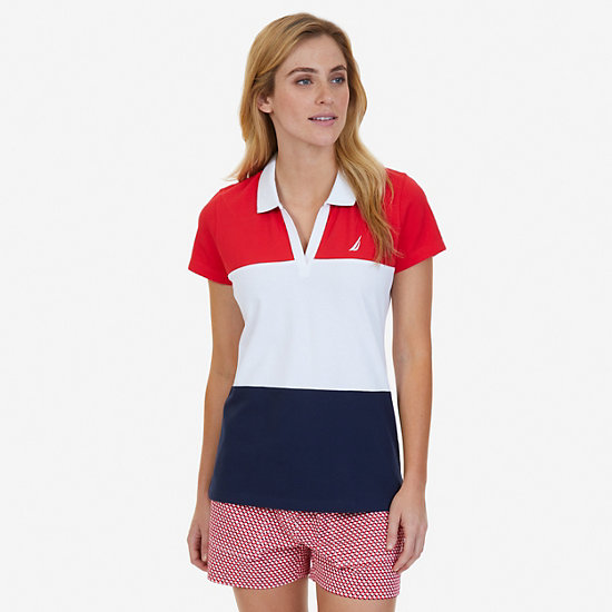 Horizontal Color Blocked Polo Shirt,Desert Rose,large