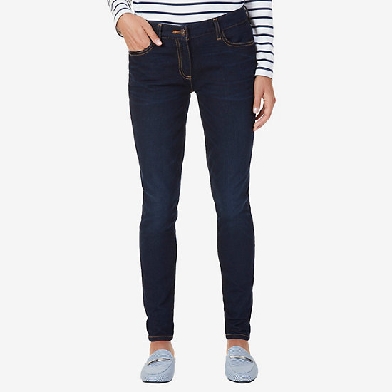 Stretch Skinny Fit Flat Front Jeans - Crystal Bay Blue