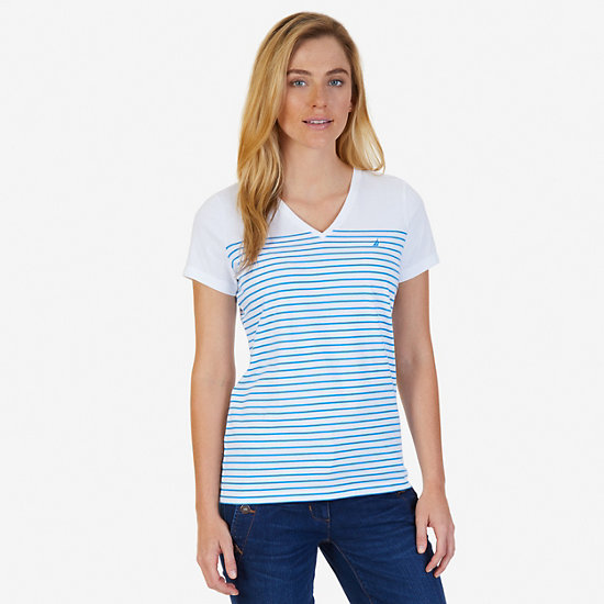 Striped V-Neck Tee - Naval Blue
