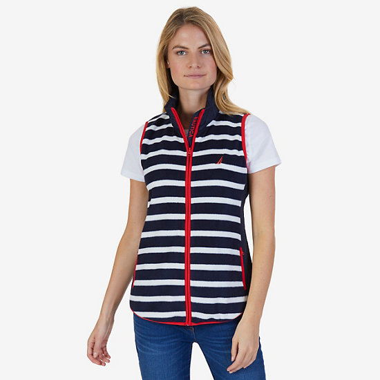 Striped Nautex Fleece Vest - Dreamy Blue