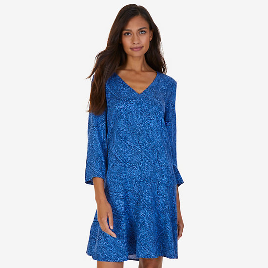 Printed Flare Dress,Estate Blue,large