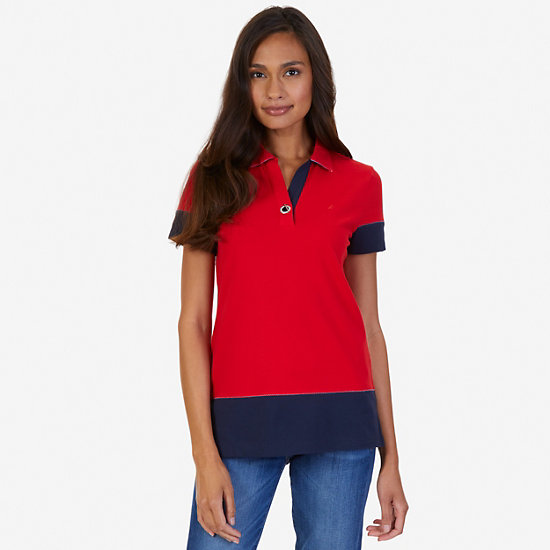 Pieced Polo Shirt - Tomales Red