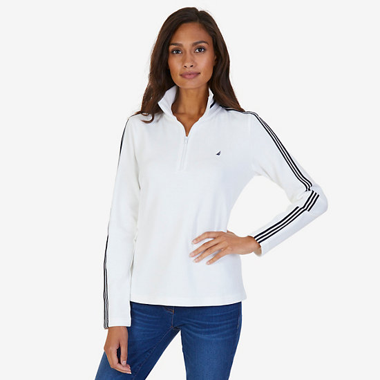 Triple Stripe Quarter-Zip Pullover - Marshmallow