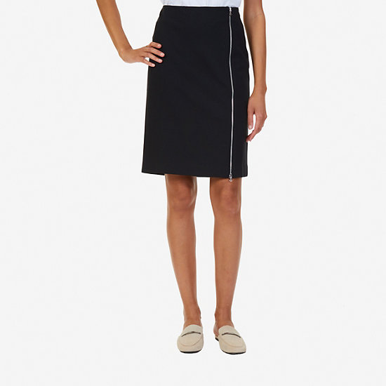 Above-the-Knee Ponte Skirt - True Black