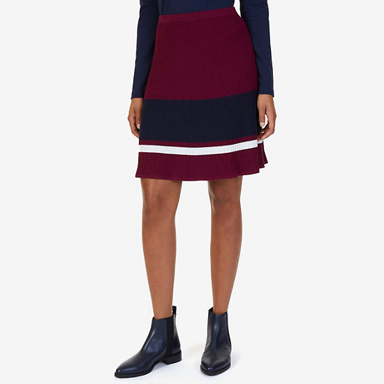 Striped Ribbed Skirt - Port Scarlet