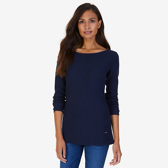 Cashmere Blend Boatneck Sweater - Dreamy Blue