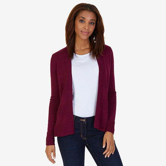 Textured Stripe Flyaway Cardigan - Port Scarlet