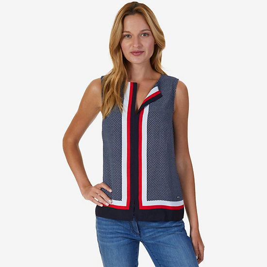 Printed Sleeveless Top,Tomales Red,large