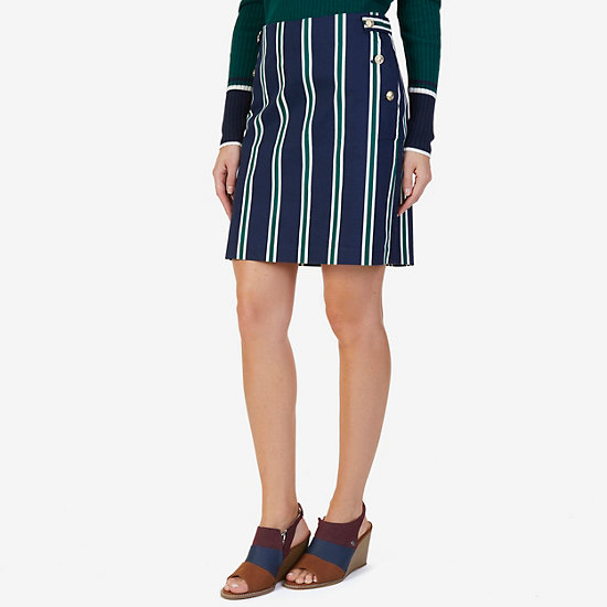 Striped Twill Skirt - Deep Sea