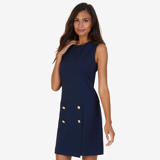 Four Button Ponte Dress,Deep Sea,large