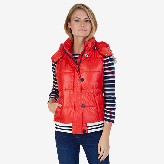 Faux Fur Hooded Puffer Vest,Red,large