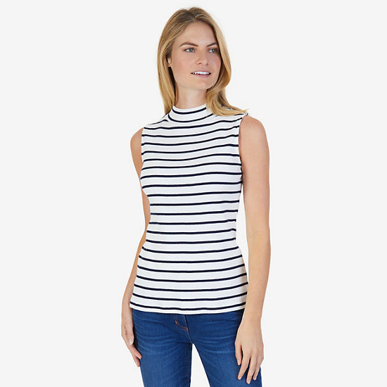 Striped Sleeveless Mock-neck Top,Marshmallow,large