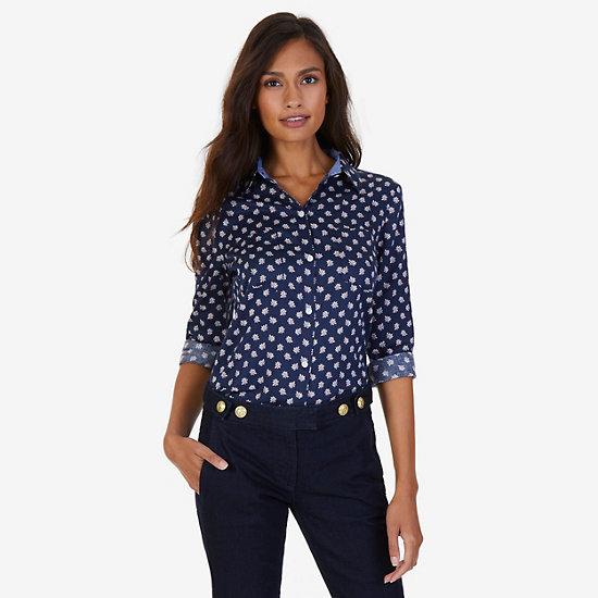 Maple Print Sateen Perfect Shirt - Dreamy Blue