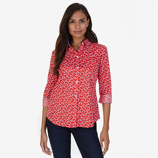 Floral Print Sateen Slim Fit Perfect Button Down - Red