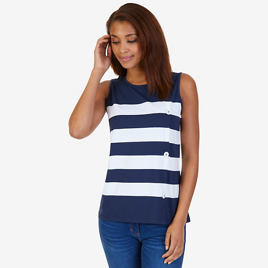 Striped Button-Side Top - Dreamy Blue