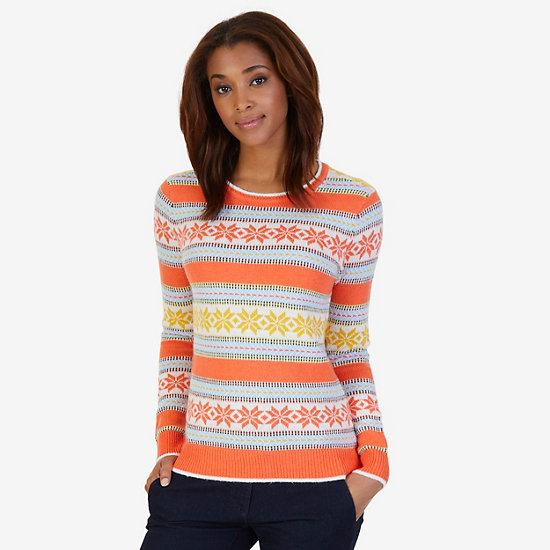 Snowflake Stripe Sweater - Icelantic Orange