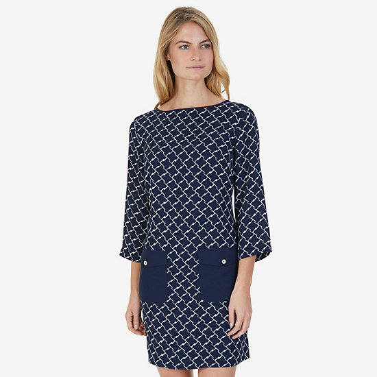 Printed Shift Dress - Dreamy Blue