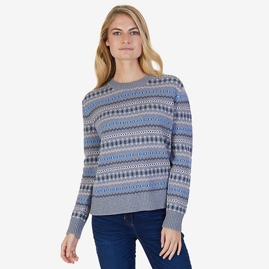 Classic Patterned Sweater,Gunpowder,large