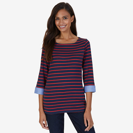 Striped Turnback Cuff Top - Deep Sea