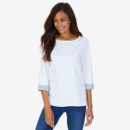 Turnback Cuff Top,Bright White,large
