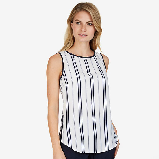 Striped Sleeveless Boatneck Top - Marshmallow