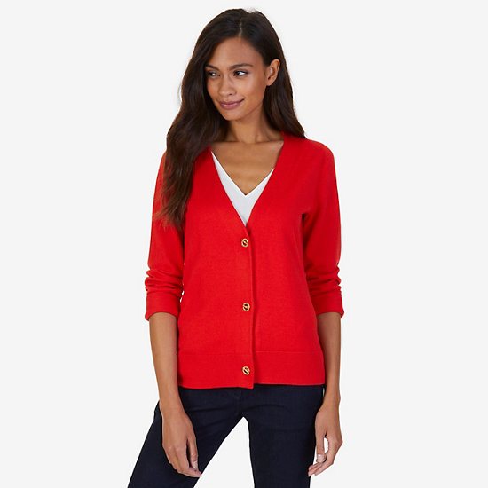 Essential Layering Cardigan,Red,large