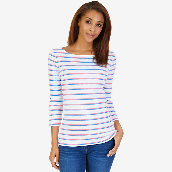 Boatneck Striped Top,Marshmallow,large