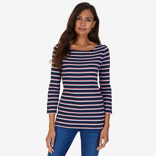 Boatneck Striped Top - Deep Sea