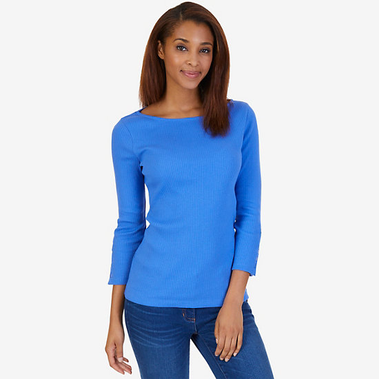 Boatneck Ribbed Top - Blue Bonnet