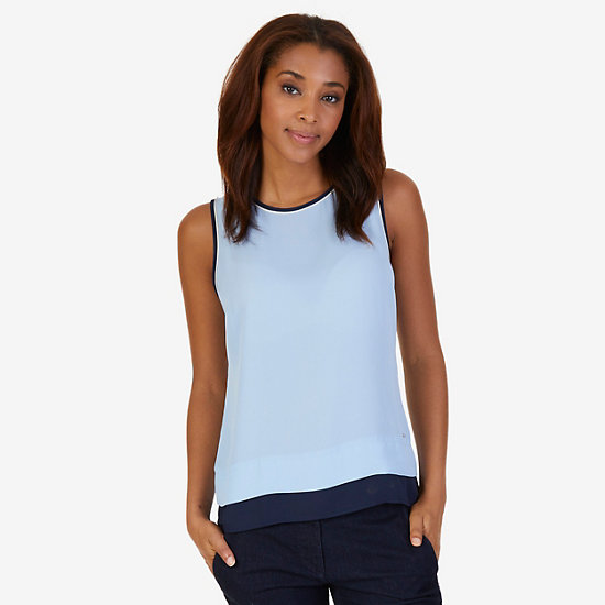 Georgette Layering Shell - Crystal Bay Blue