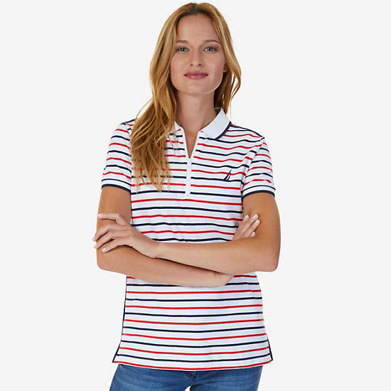 Striped Zip Polo Shirt,Bright White,large