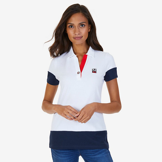 Grommet Colorblocked Stretch Pique Polo Shirt,Bright White,large