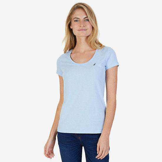 Short Sleeve Scoop-neck Tee - Crystal Bay Blue