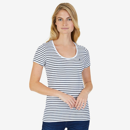 Striped Scoop Tee - Bright White