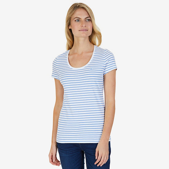 Striped Scoop Tee - Majolica