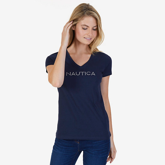 Short Sleeve V-Neck Tee with Studded Logo - Dreamy Blue
