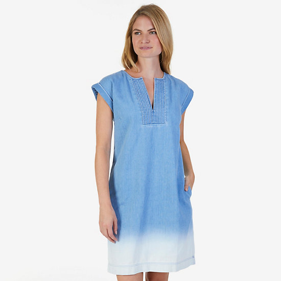 Short Sleeve Dark Denim Dress,Blue,large