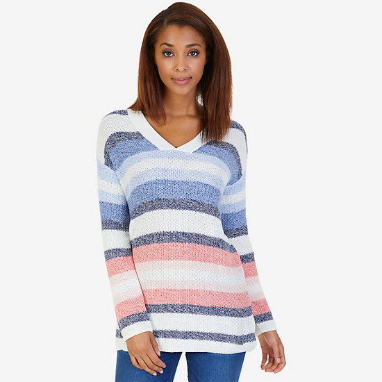 Striped V-Neck Sweater with Ribbed Trim,Marshmallow,large