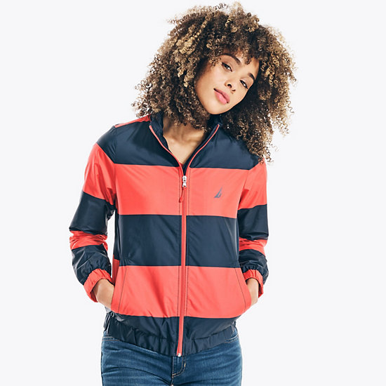 Striped Windbreaker Jacket  - Deep Sea